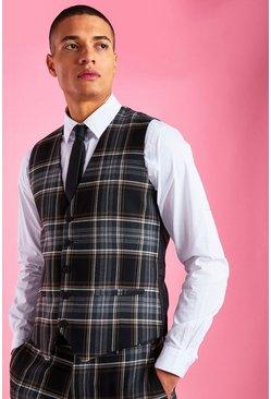 Black Skinny Fit Check Vest