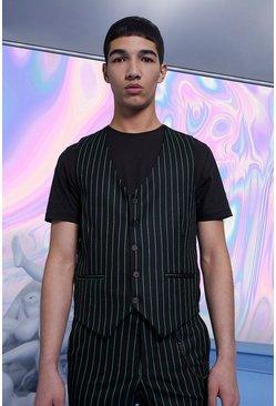 Black Skinny Fit Pinstripe Vest