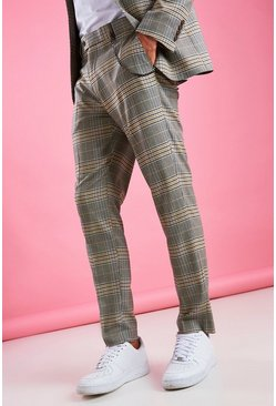 Yellow Skinny Smart Check Pants With Chain