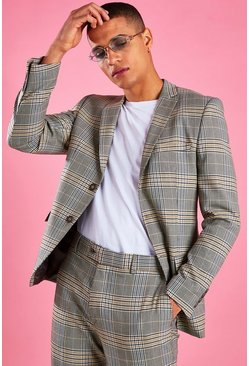 Yellow Skinny Check Blazer