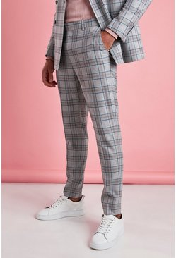 Grey Skinny Fit Smart Check Pants