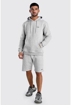 Grey marl Original MAN Short Hooded Tracksuit