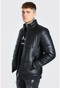 Black Leather Look Puffer