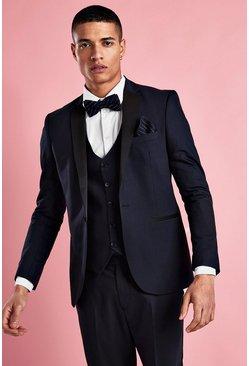 Navy Skinny Tuxedo Blazer