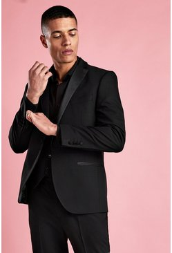 Black Slim Fit Tuxedo Blazer