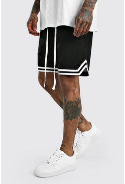 Black Airtex Basketball Shorts With Tape