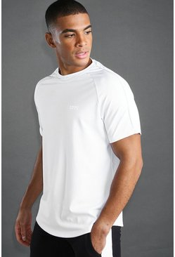 White MAN Poly Muscle Fit Raglan T-Shirt With Reflective