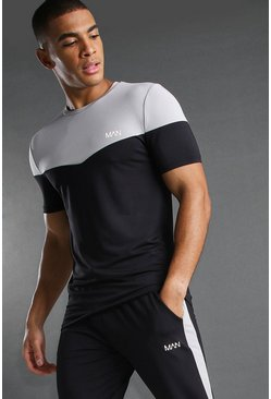 Black MAN Poly Muscle Fit Colour Block T-Shirt