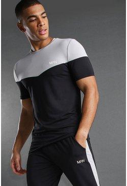 Black MAN Poly Muscle Fit Colour Block T-Shirt