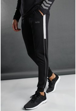 Black MAN Tapered Joggers With Panel and Piping