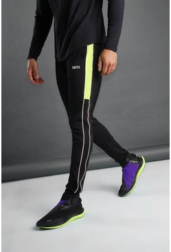 Black MAN Tapered Joggers With Side Panel and Piping