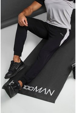 Black Man Poly Tapered Joggers With Side Panel and Zip