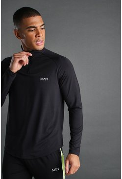 Black MAN Poly Skinny Funnel Neck Top