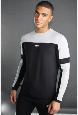Black MAN Poly Colour Block Sweater with Panels