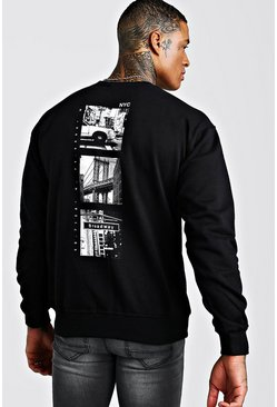 Black New York Back Print Sweatshirt