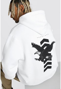 White Oversized Eagle Chevron Back Print Hoodie