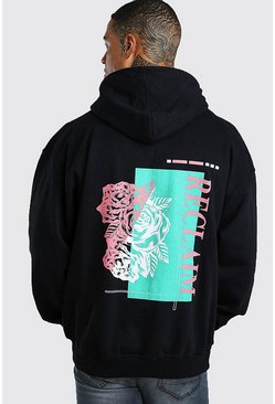 Black Oversized Rose Back Print Hoodie