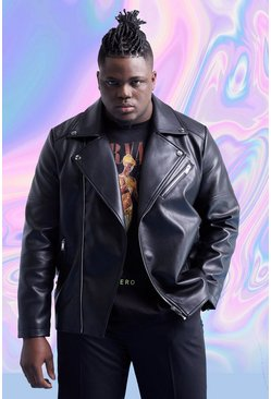 Black Big And Tall Leather Look Biker Jacket