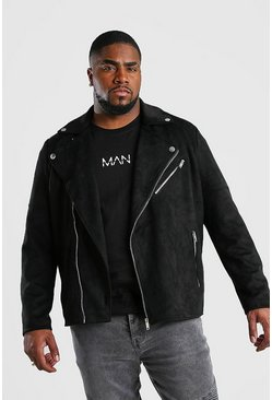 Veste motard en faux daim Big and Tall, Noir