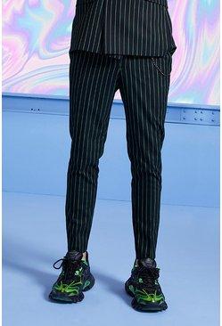Black Skinny Smart Crop Pinstripe Pants With Chain
