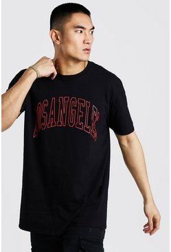 Black Oversized Los Angeles Print T-Shirt