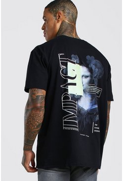 Black Oversized Front & Back Graphic Print T-Shirt