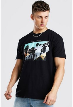 Black Oversized Palm Springs Photo Print T-Shirt