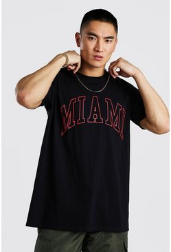 Black Oversized Miami Print T-Shirt