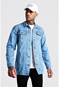 Mid blue Longline Denim Jacket