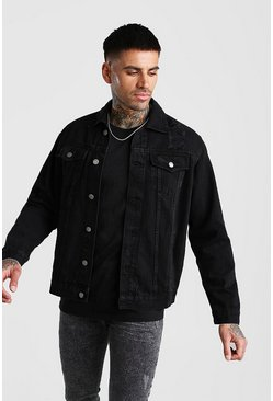 Jacke aus Denim in Used-Optik, Schwarz