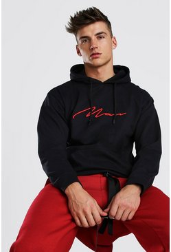 Red 3D MAN Signature Embroidered Hoodie, Black