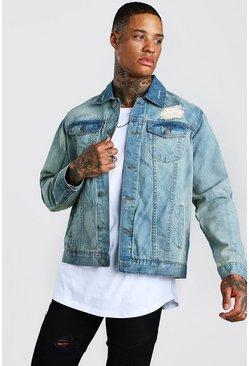 Vintage blue Distressed Denim Jacket