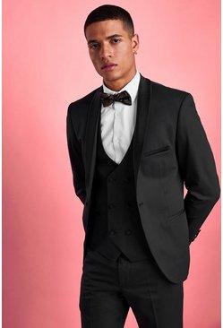 Black Skinny Fit Tuxedo Blazer