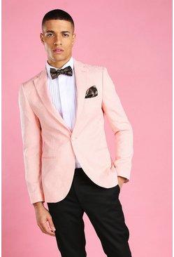 Pink Skinny Prom Floral Brocade Blazer
