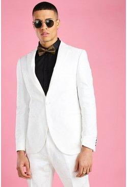 White Skinny Prom Floral Brocade Blazer