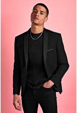 Black Skinny Prom Metallic Glitter Blazer