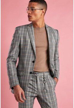 Grey Skinny Fit Check Blazer