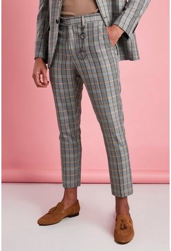 Grey Skinny Check Smart Pants With Key Chain