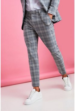 Grey Skinny Smart Check Crop Pants With Chain