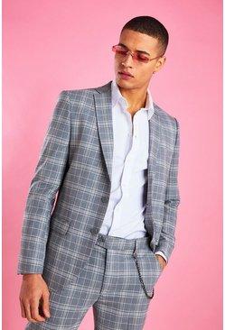 Grey Skinny Check Blazer
