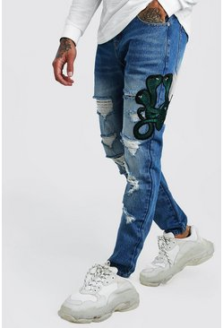 Mid blue Skinny Rigid Distressed Jeans With Embroidery