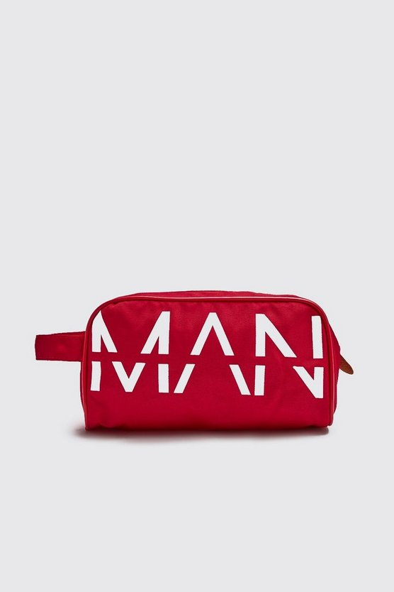 Mens Red MAN Printed Large Washbag