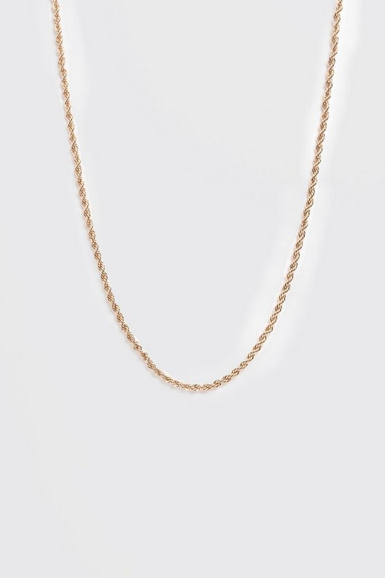 Mens Gold Twisted Rope Chain