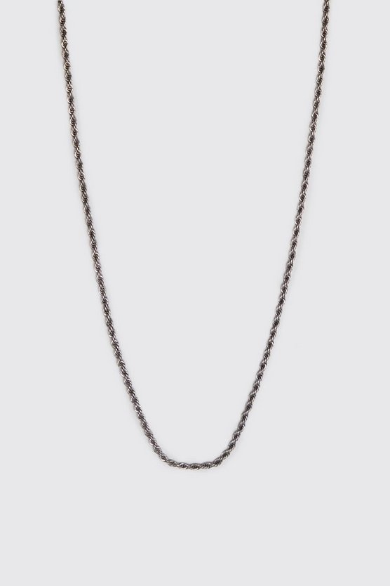 Mens Silver Twisted Rope Chain