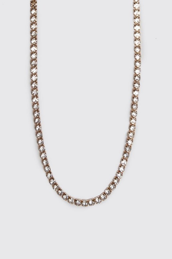 Mens Gold Diamante Tennis Chain