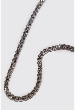 Mens Silver Diamante Tennis Chain