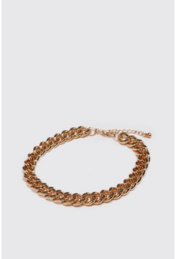 Mens Gold Medium Cuban Chain Link Bracelet