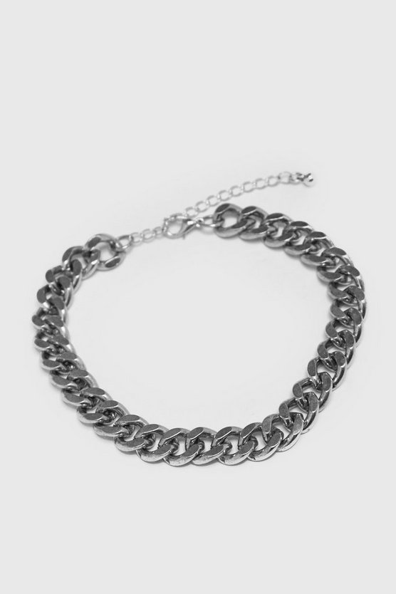 Mens Silver Medium Cuban Chain Link Bracelet