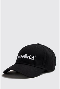 Mens Black MAN Official Gothic Embroidery Cap