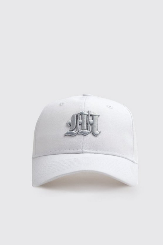 Mens White 3D Silver Embroidered M Cap
